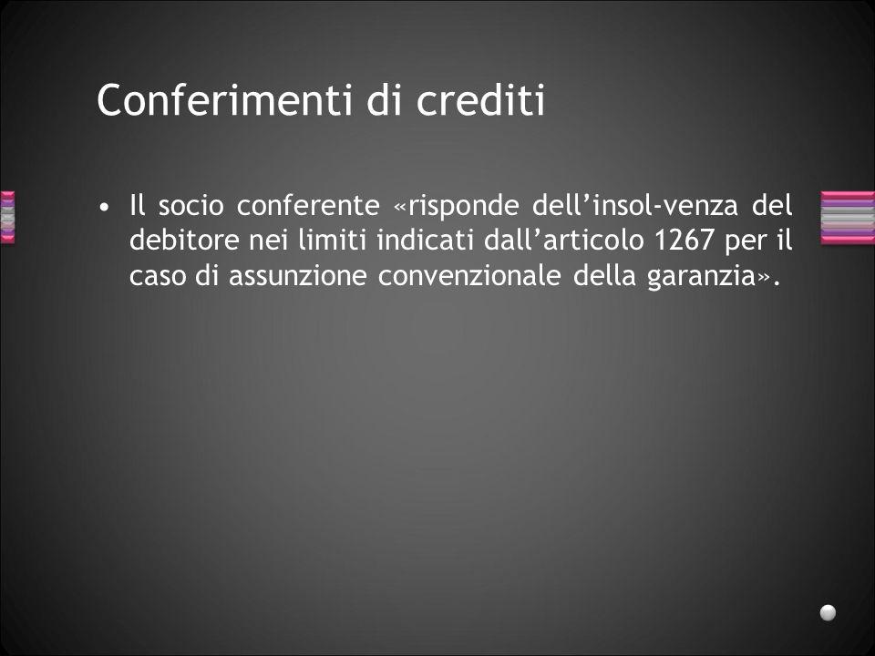 Conferimenti di crediti