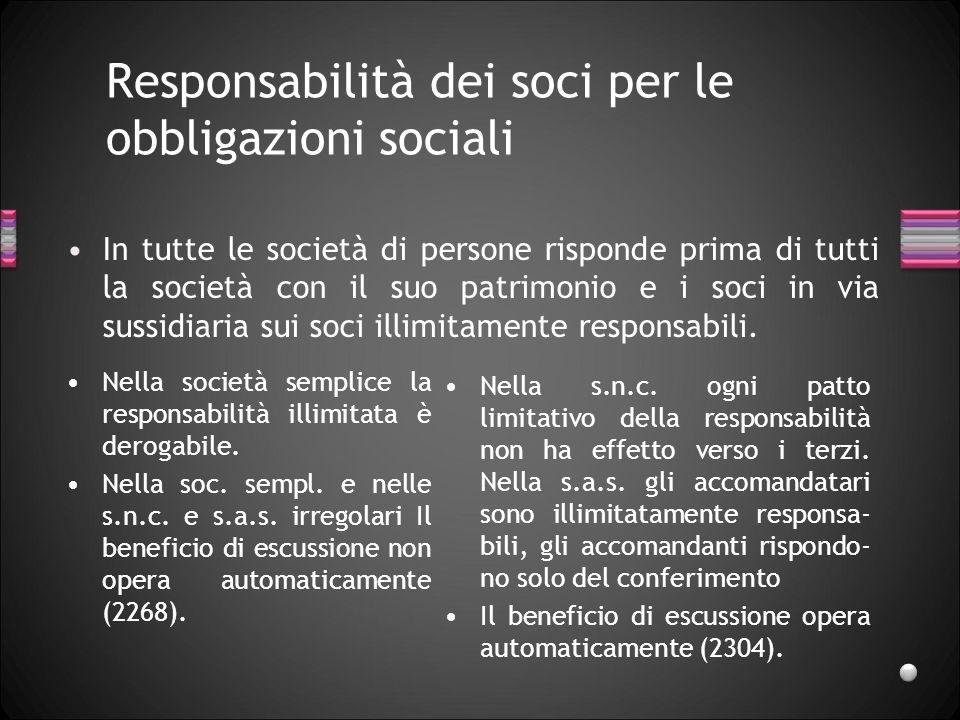 Responsabilità dei soci per le obbligazioni sociali