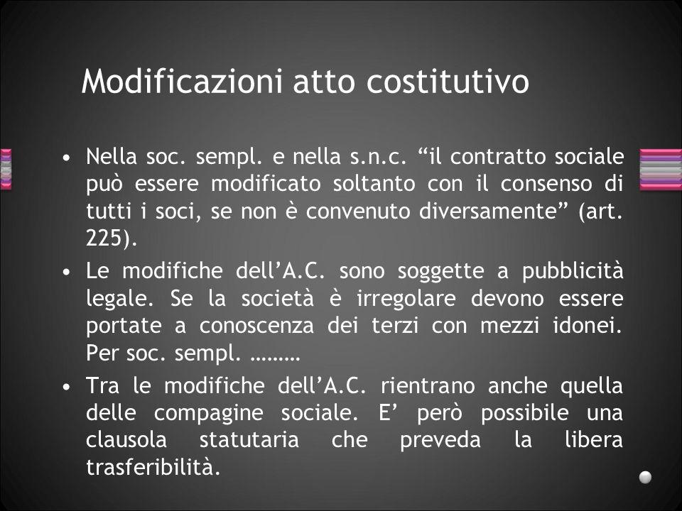 Modificazioni atto costitutivo