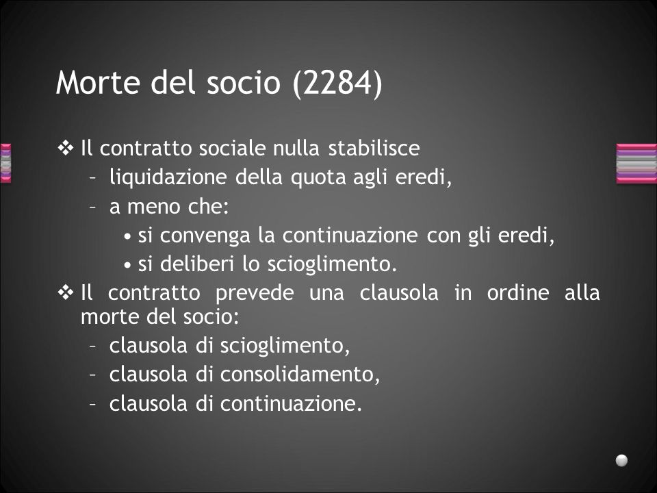Morte del socio (2284) Il contratto sociale nulla stabilisce