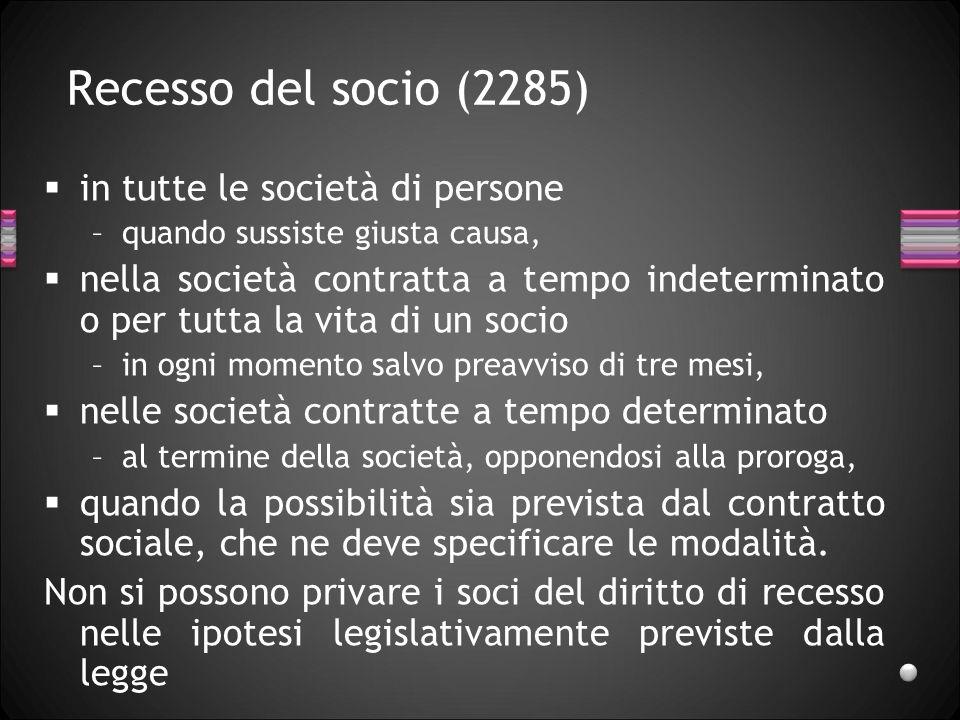 Recesso del socio (2285) in tutte le società di persone