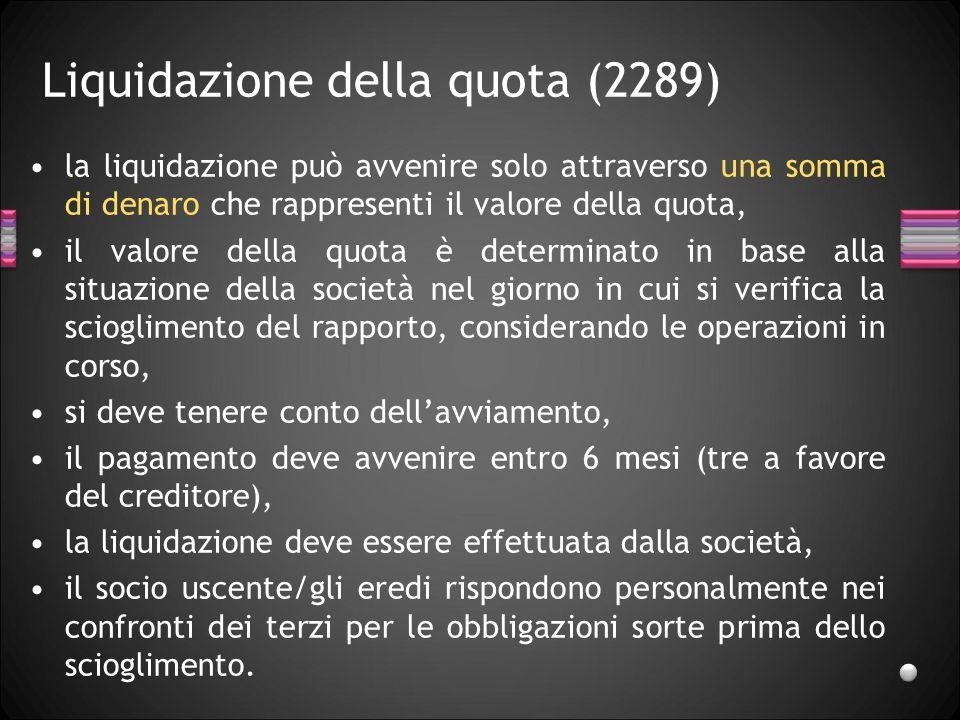 Liquidazione della quota (2289)