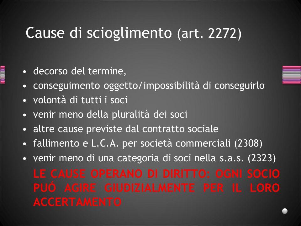 Cause di scioglimento (art. 2272)