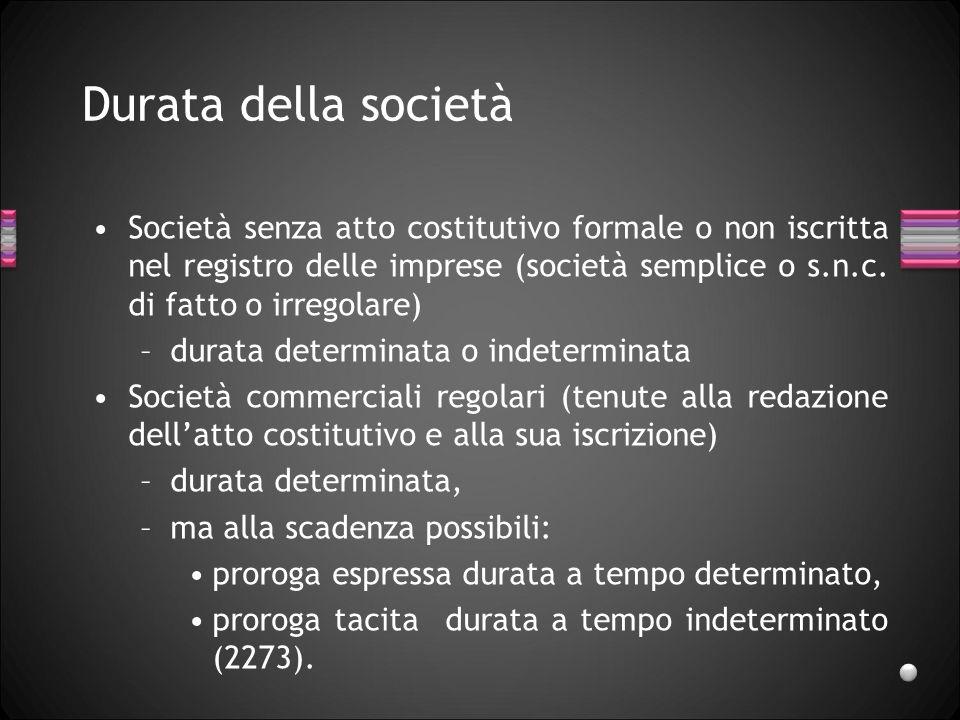 Durata della società