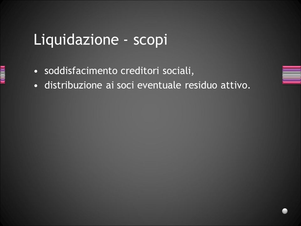 Liquidazione - scopi soddisfacimento creditori sociali,