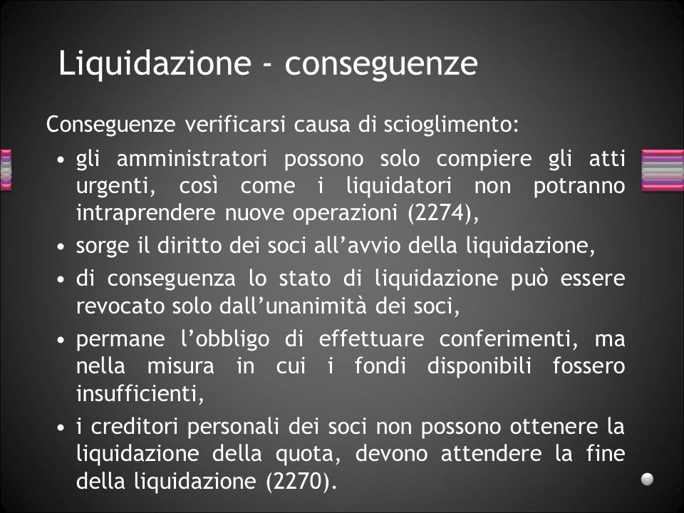 Liquidazione - conseguenze