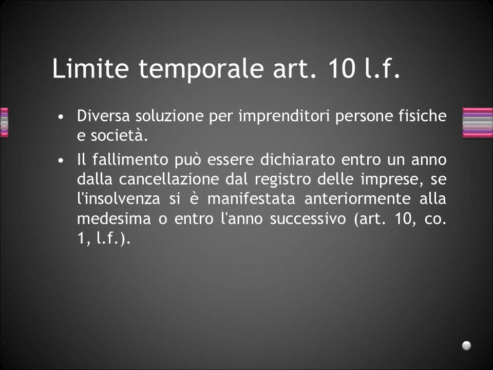 Limite temporale art. 10 l.f.