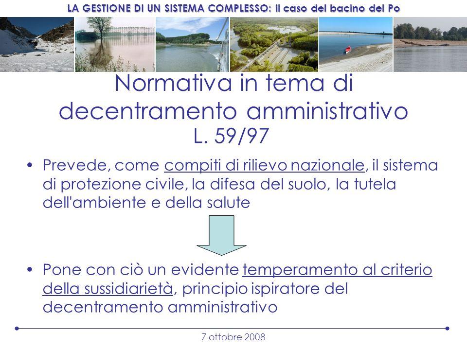 Normativa in tema di decentramento amministrativo