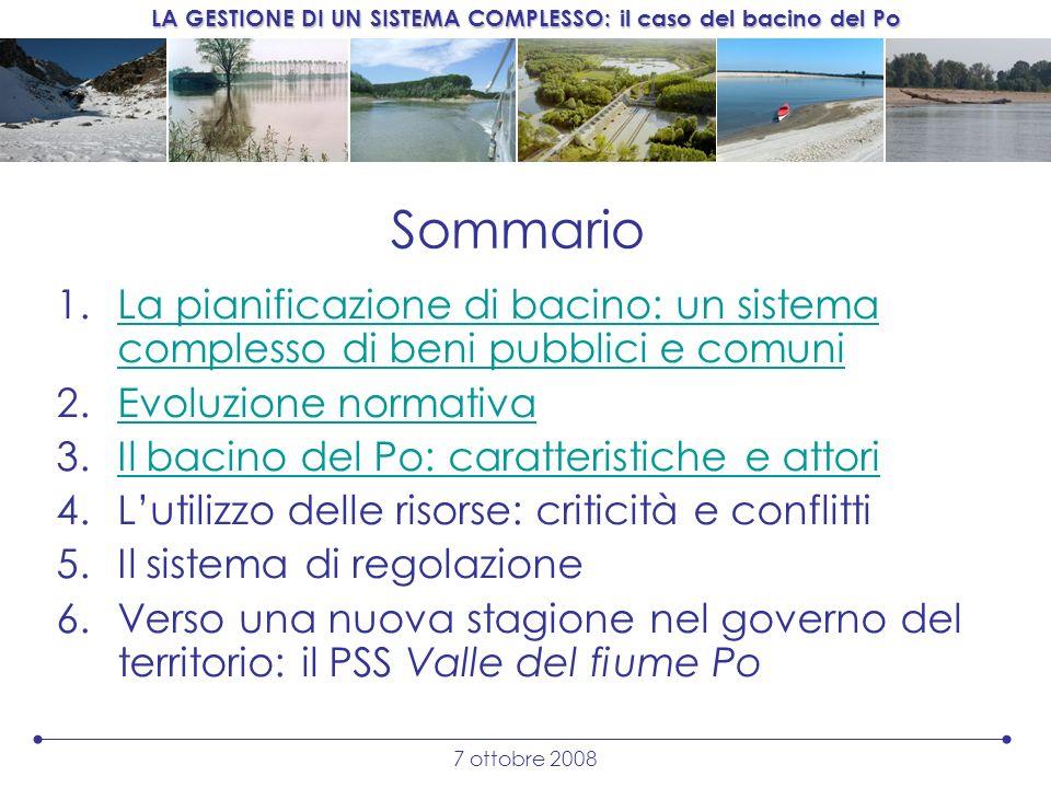 Sommario La pianificazione di bacino: un sistema complesso di beni pubblici e comuni. Evoluzione normativa.