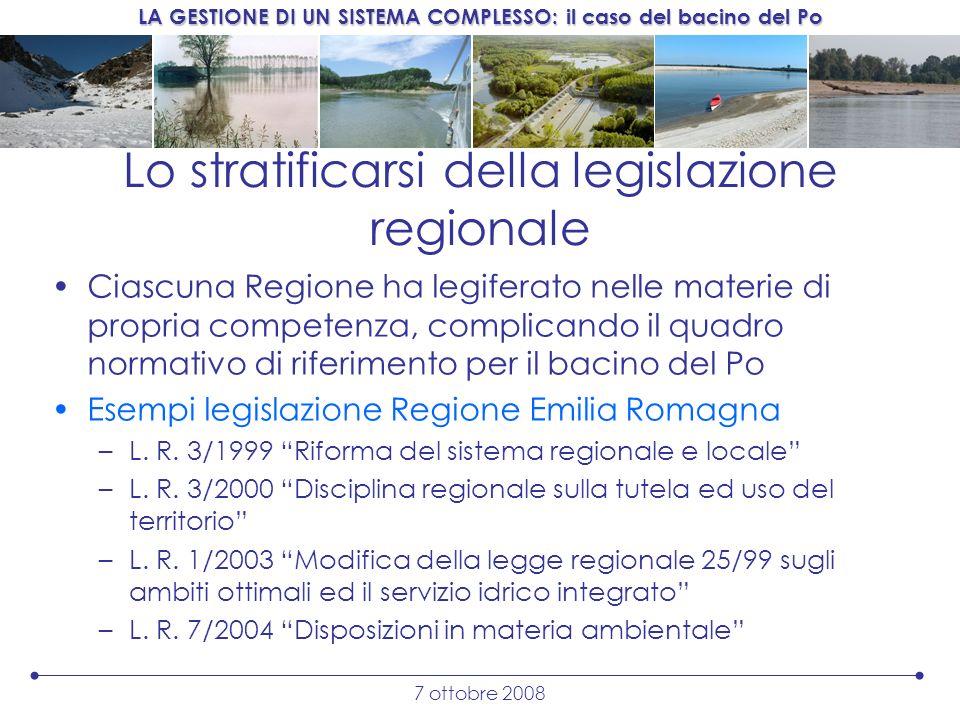 Lo stratificarsi della legislazione regionale