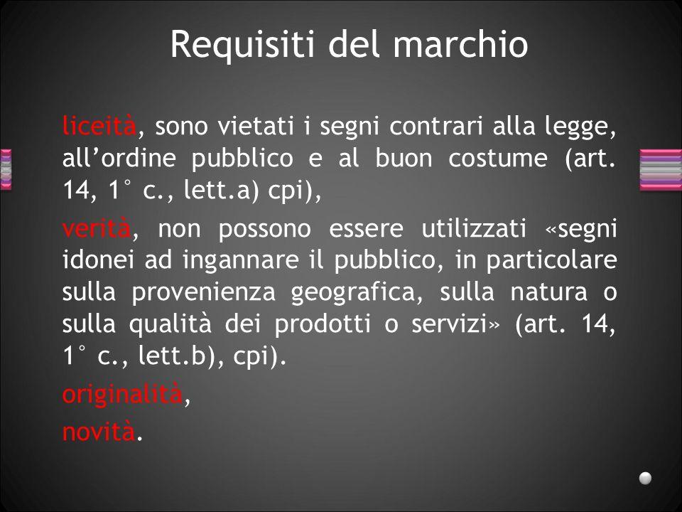 Requisiti del marchio liceità, sono vietati i segni contrari alla legge, all'ordine pubblico e al buon costume (art. 14, 1° c., lett.a) cpi),