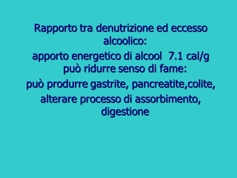 Rapporto tra denutrizione ed eccesso alcoolico: