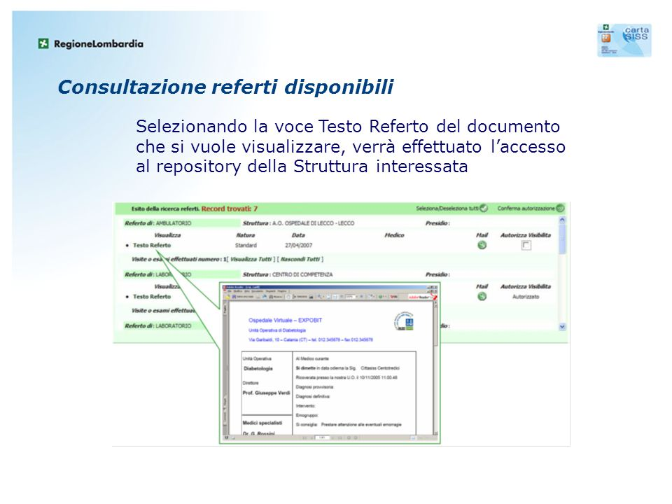 Consultazione referti disponibili