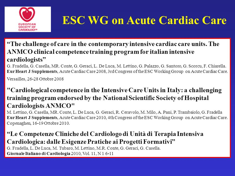 ESC WG on Acute Cardiac Care