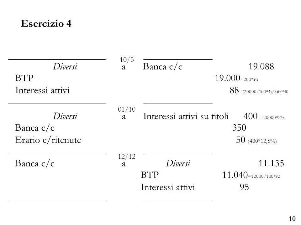 Esercizio 4 Diversi a Banca c/c 19.088 BTP 19.000=200*95
