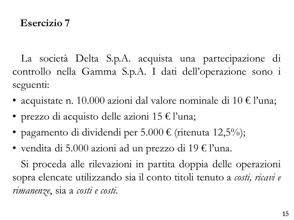 acquistate n. 10.000 azioni dal valore nominale di 10 € l'una;