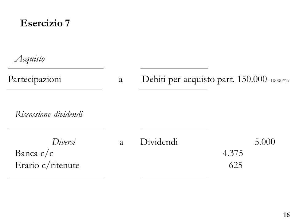 Esercizio 7 Acquisto. Partecipazioni a Debiti per acquisto part. 150.000=10000*15. Riscossione dividendi.