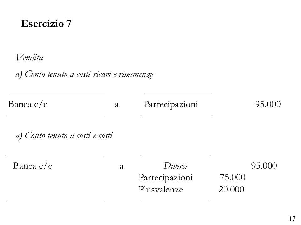 Esercizio 7 Vendita a) Conto tenuto a costi ricavi e rimanenze