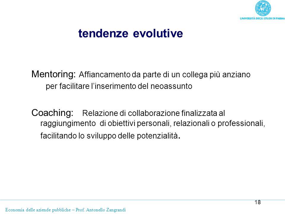 tendenze evolutiveMentoring: Affiancamento da parte di un collega più anziano. per facilitare l'inserimento del neoassunto.