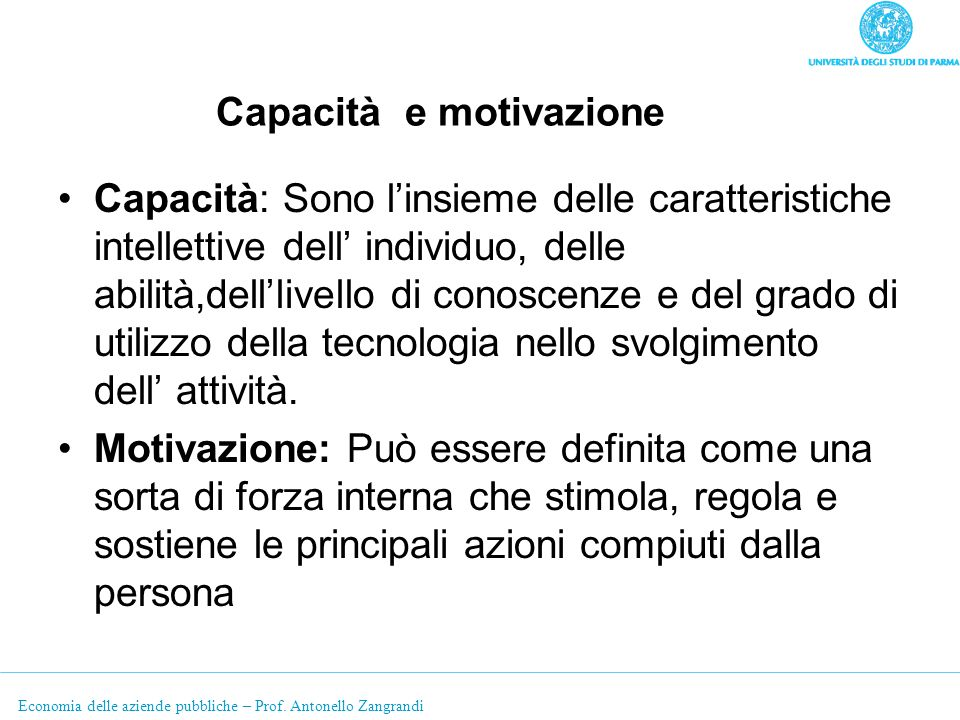 Capacità e motivazione