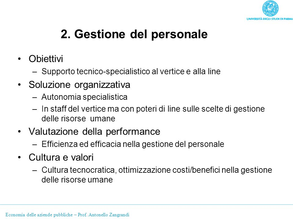 2. Gestione del personale