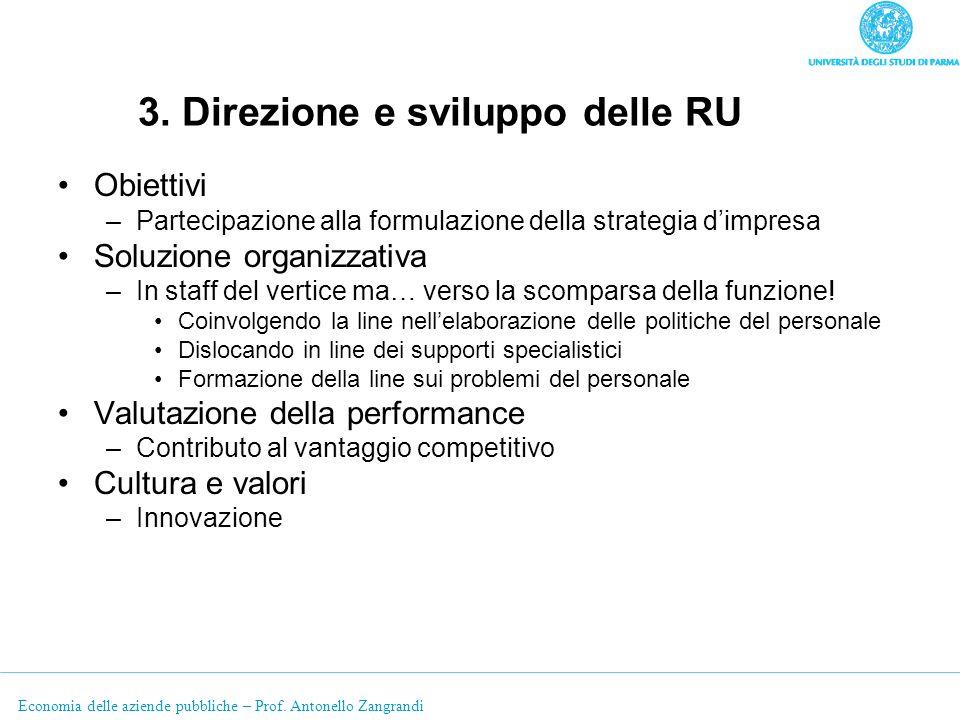 3. Direzione e sviluppo delle RU