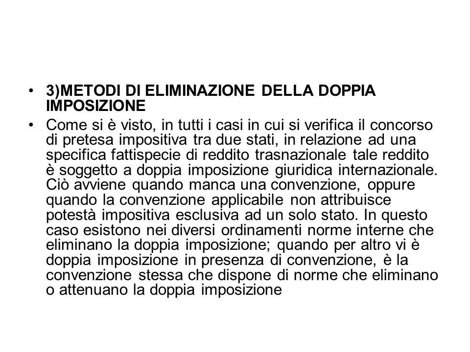 3)METODI DI ELIMINAZIONE DELLA DOPPIA IMPOSIZIONE