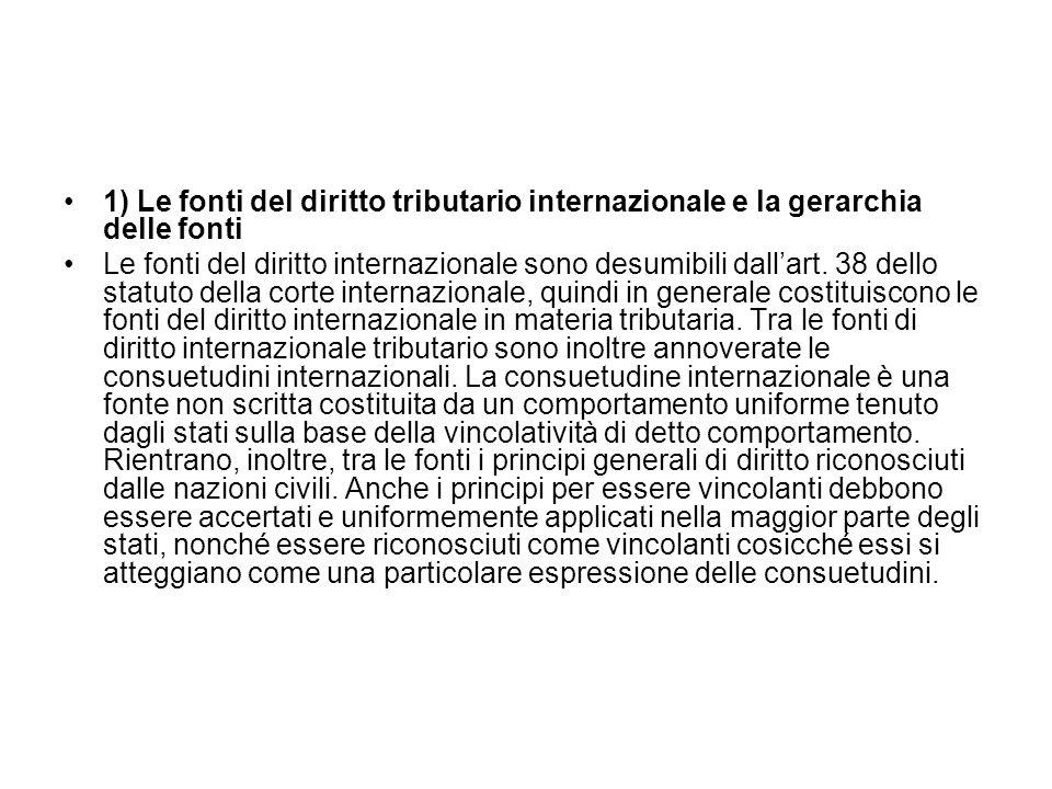 1) Le fonti del diritto tributario internazionale e la gerarchia delle fonti
