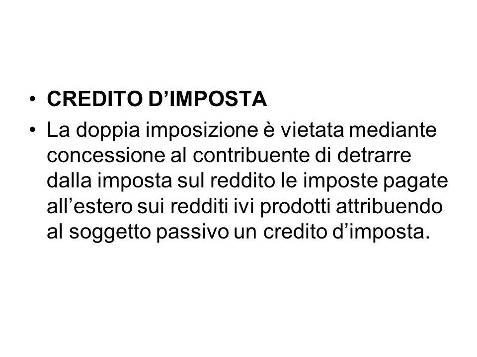 CREDITO D'IMPOSTA