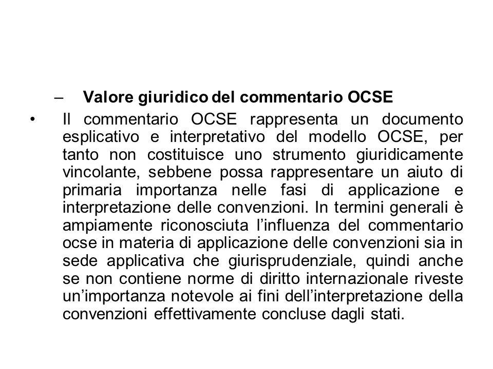 Valore giuridico del commentario OCSE