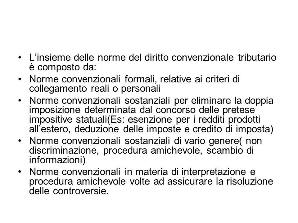 L'insieme delle norme del diritto convenzionale tributario è composto da: