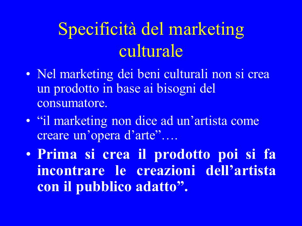 Specificità del marketing culturale