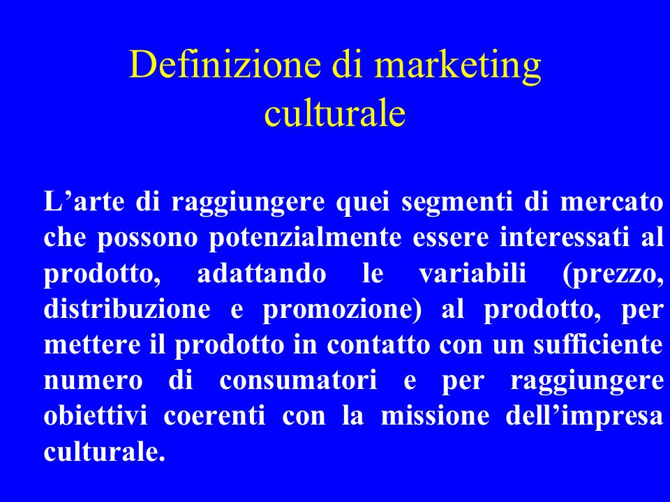 Definizione di marketing culturale