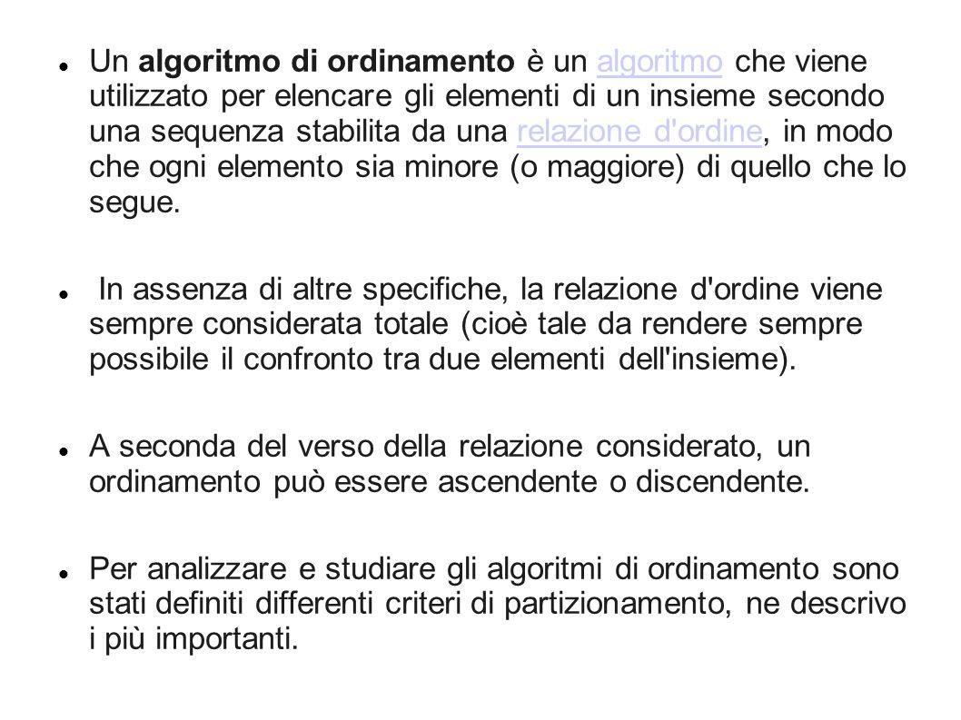 Un algoritmo di ordinamento è un algoritmo che viene utilizzato per elencare gli elementi di un insieme secondo una sequenza stabilita da una relazione d ordine, in modo che ogni elemento sia minore (o maggiore) di quello che lo segue.