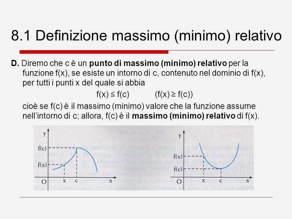 8.1 Definizione massimo (minimo) relativo