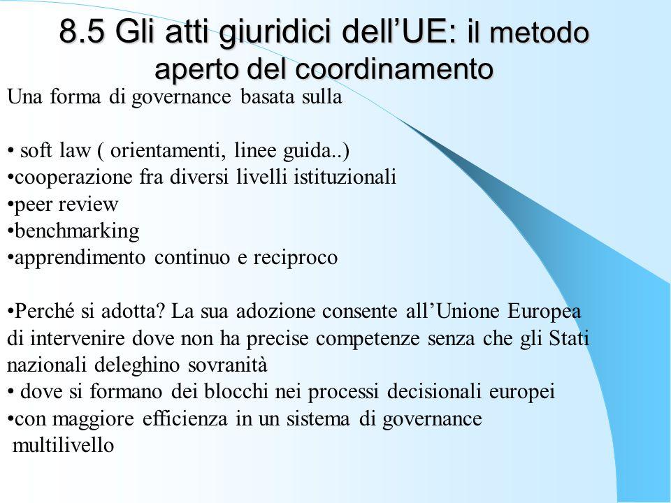 8.5 Gli atti giuridici dell'UE: il metodo aperto del coordinamento