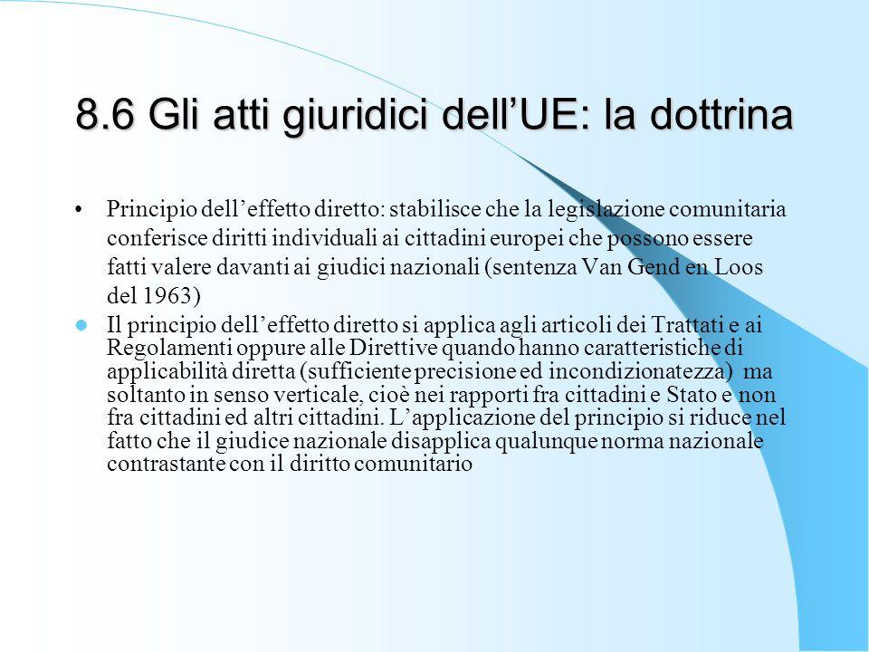 8.6 Gli atti giuridici dell'UE: la dottrina