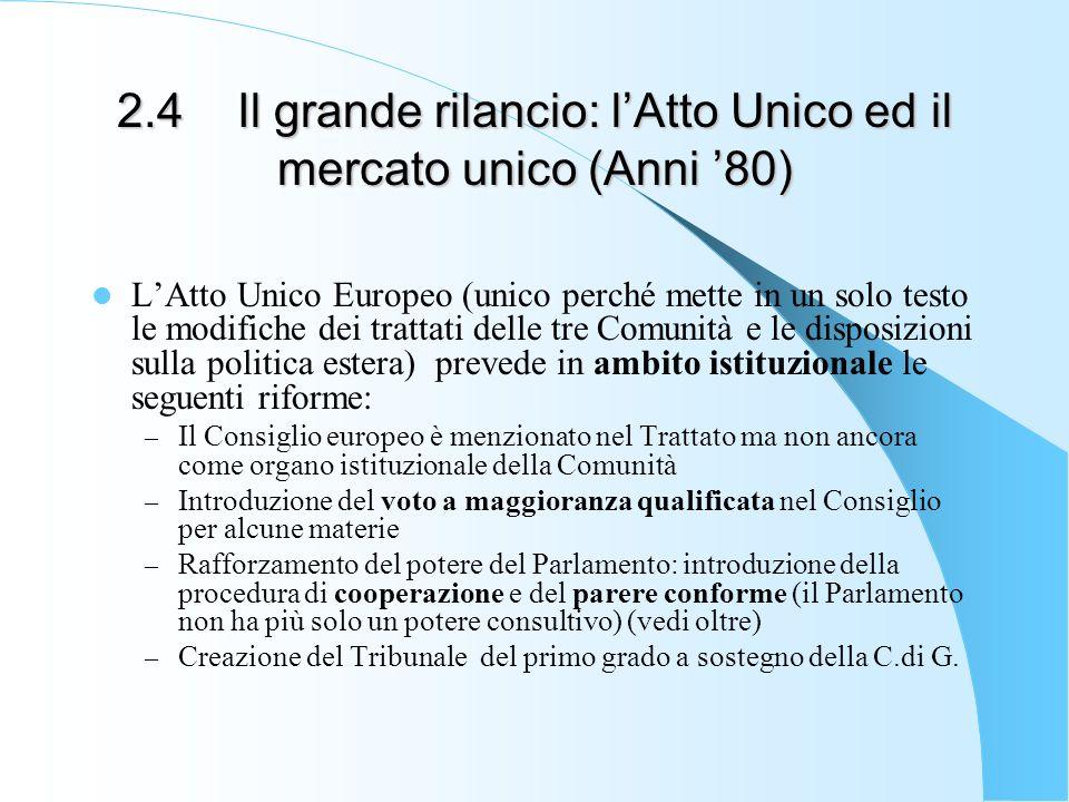 2.4 Il grande rilancio: l'Atto Unico ed il mercato unico (Anni '80)