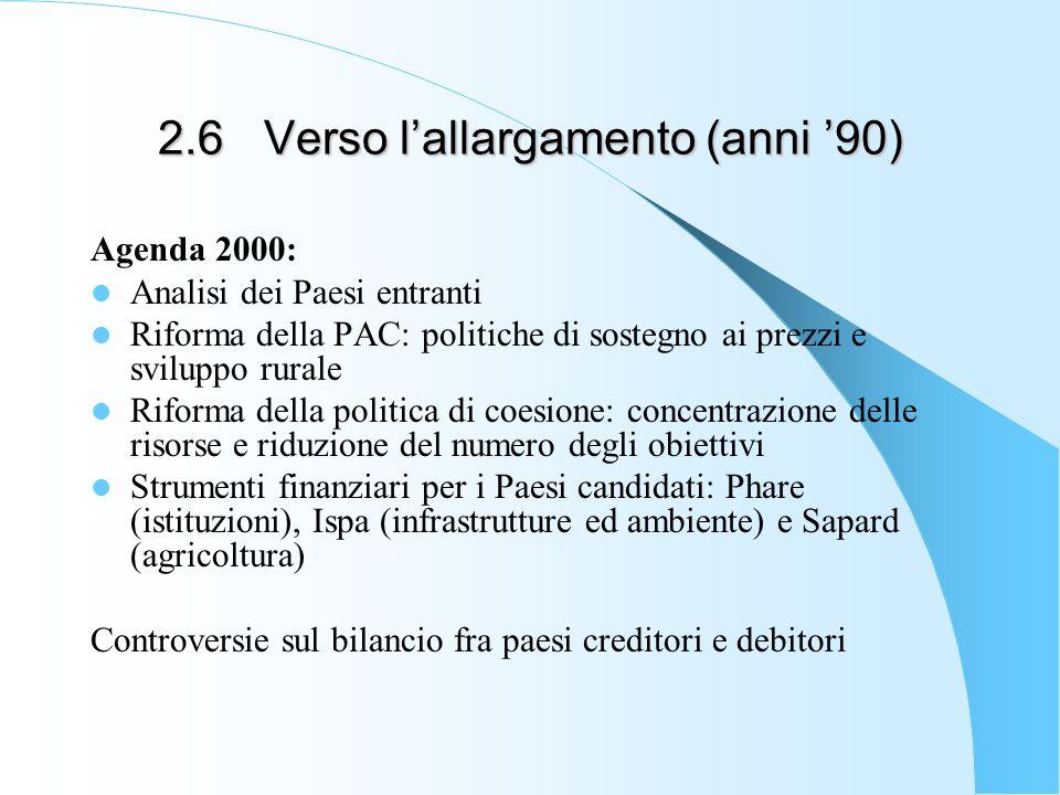 2.6 Verso l'allargamento (anni '90)