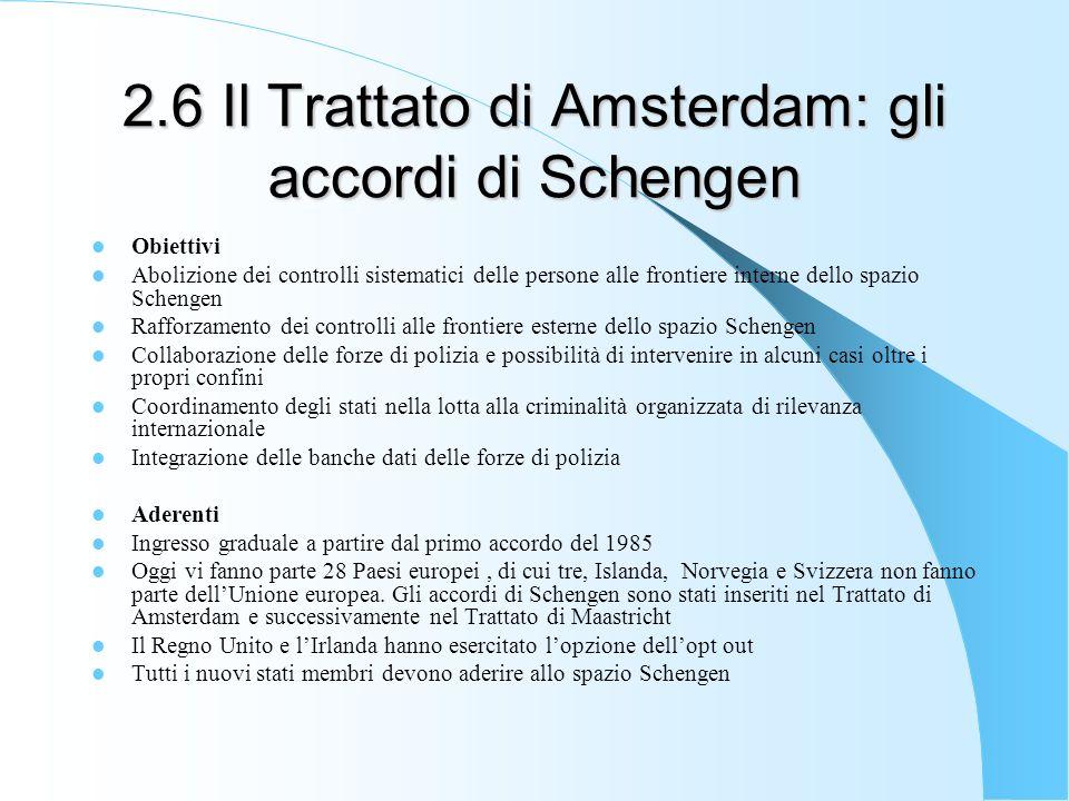 2.6 Il Trattato di Amsterdam: gli accordi di Schengen