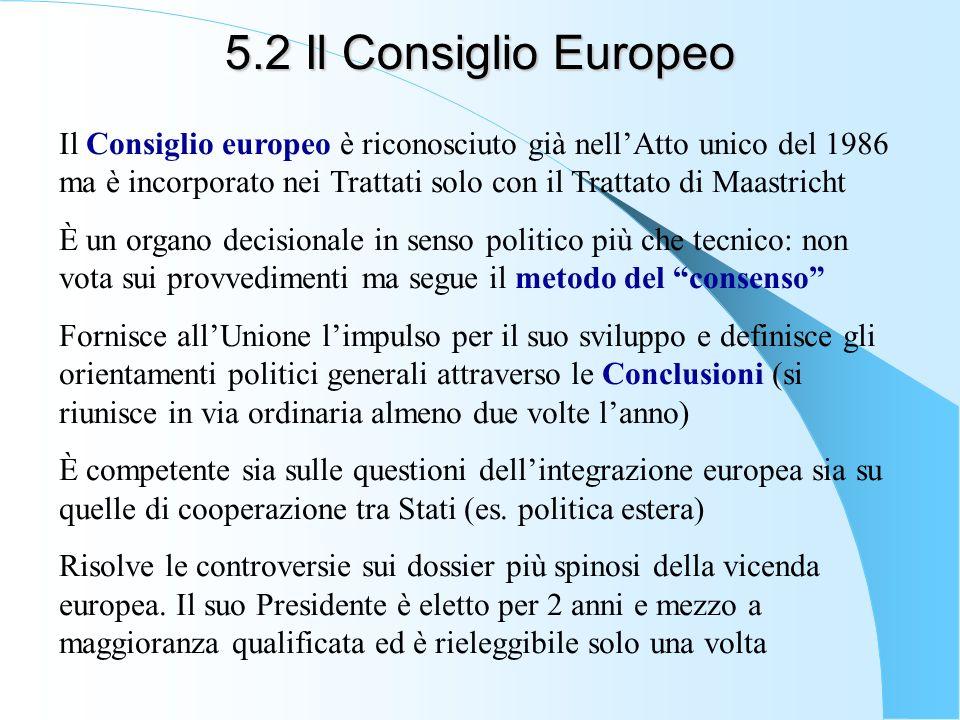 5.2 Il Consiglio Europeo