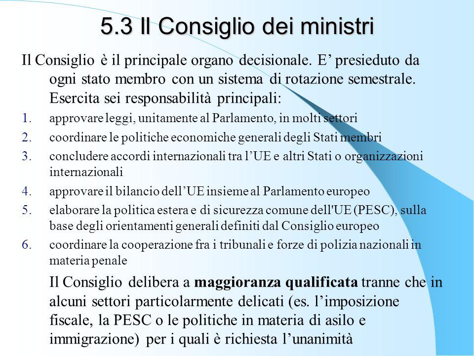 5.3 Il Consiglio dei ministri