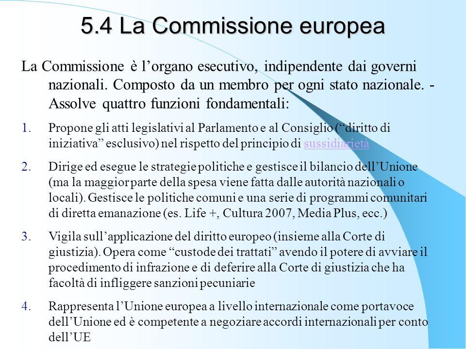 5.4 La Commissione europea