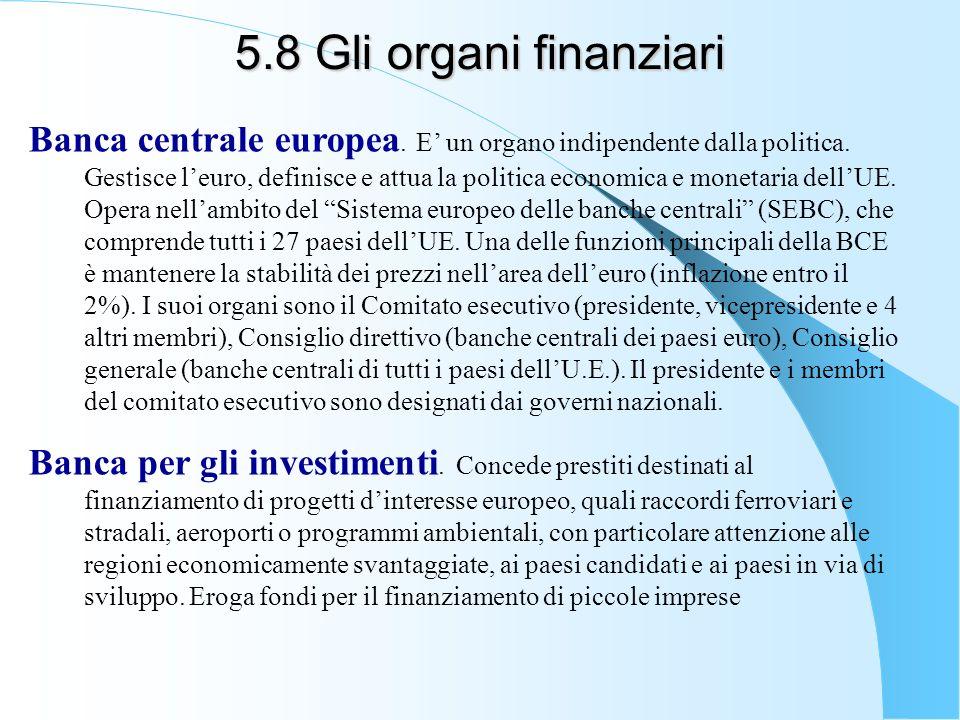 5.8 Gli organi finanziari
