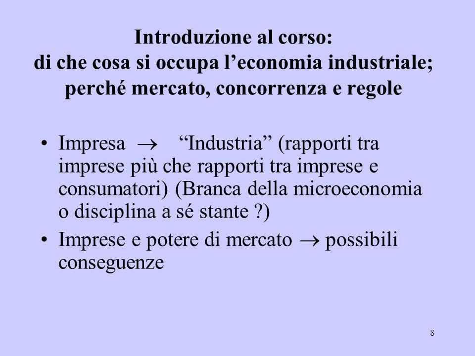 Introduzione al corso: di che cosa si occupa l'economia industriale; perché mercato, concorrenza e regole