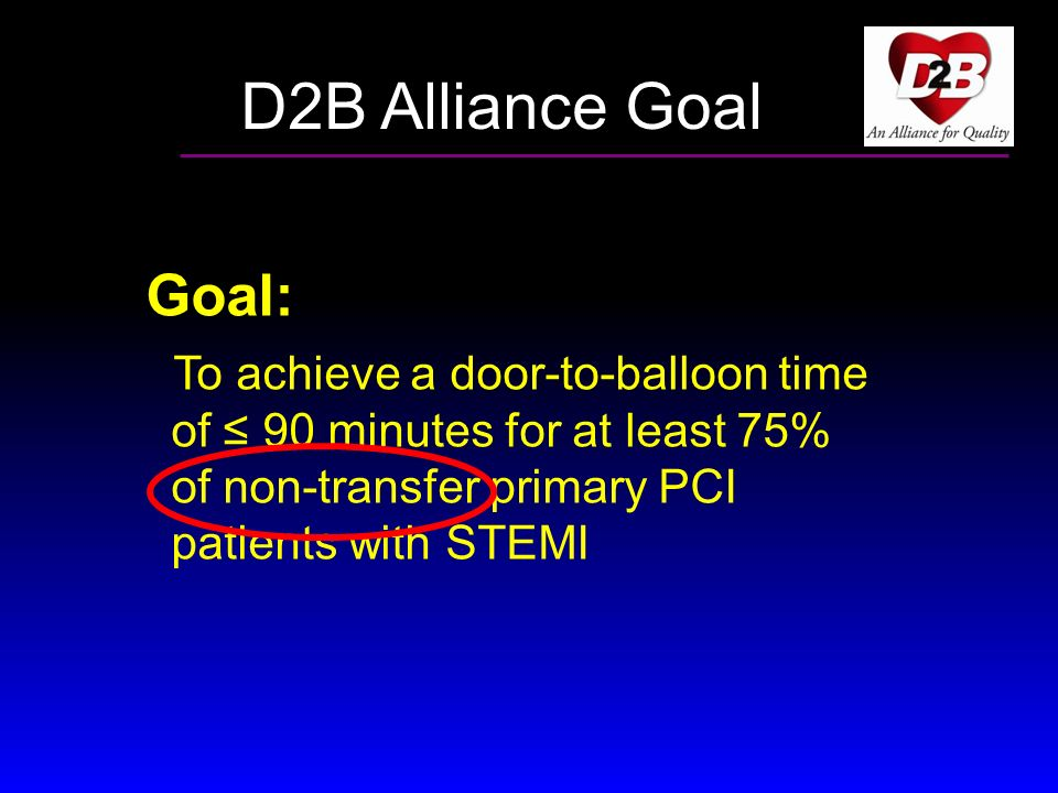 D2B Alliance Goal Goal: To achieve a door-to-balloon time of ≤ 90 minutes for at least 75% of non-transfer primary PCI patients with STEMI.