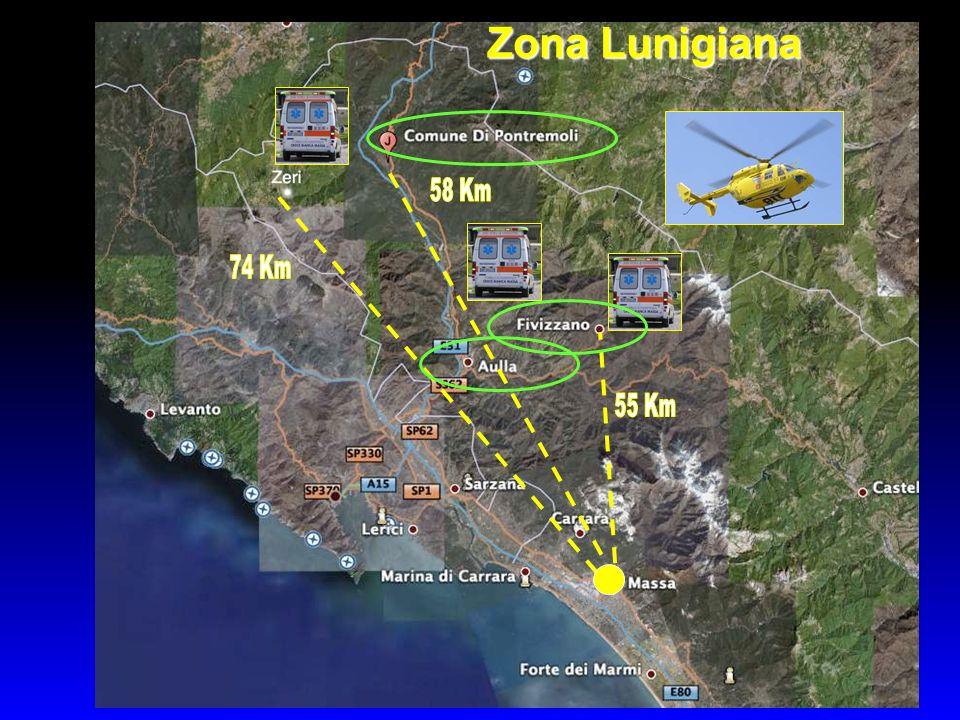 Zona Lunigiana 55 Km 58 Km 74 Km 22