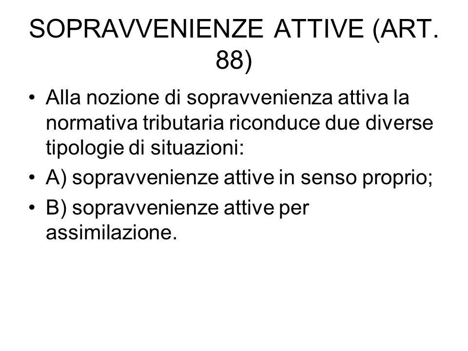 SOPRAVVENIENZE ATTIVE (ART. 88)