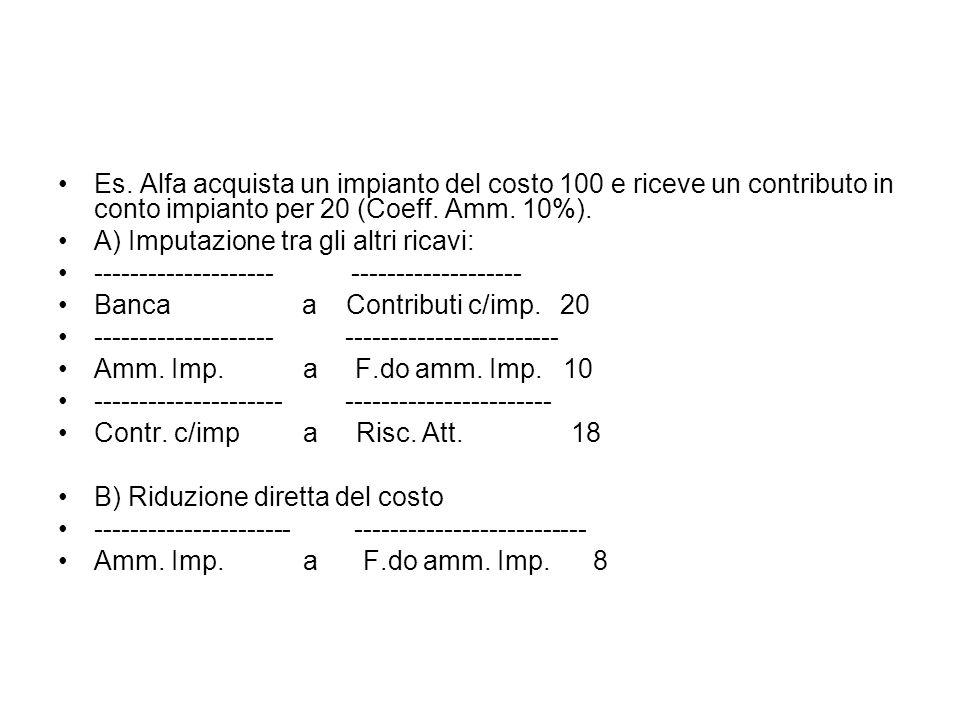 Es. Alfa acquista un impianto del costo 100 e riceve un contributo in conto impianto per 20 (Coeff. Amm. 10%).