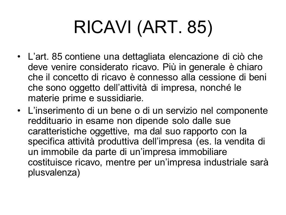 RICAVI (ART. 85)